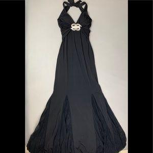 Cache dazzle brooch black dress